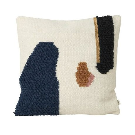 Ferm Living Throw Pillow Loop Mount Toile de laine multicolore 50x50cm