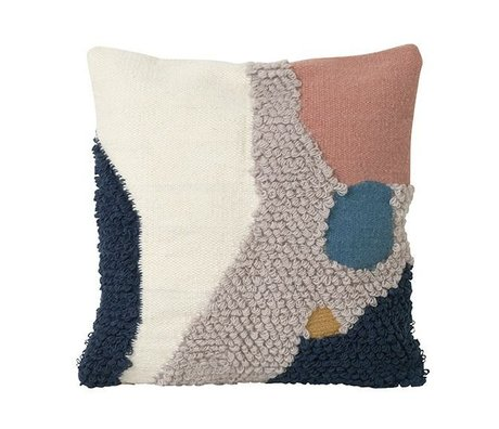 Ferm Living Throw Pillow Loop Landscape Multicolor Wool Canvas 50x50cm