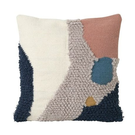 Ferm Living Throw Pillow Loop Paysage Toile de laine multicolore 50x50cm