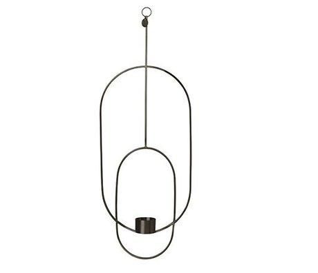 Ferm Living Photophore Deco ovale métal noir 18.5x42x50cm