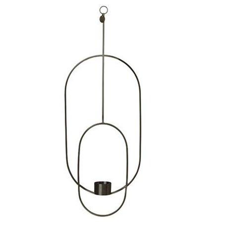 Ferm Living Tealight holder Deco oval black metal 18.5x42x50cm