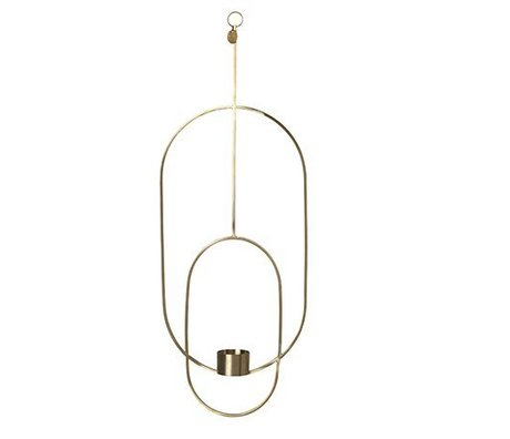 Ferm Living Tealight holder Deco oval gold metal 18.5x42x50cm