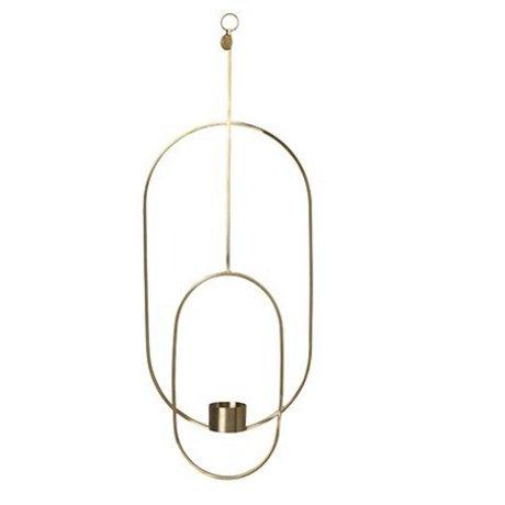 Ferm Living Teelichthalter Deco oval goldfarben Metall 18.5x42x50cm