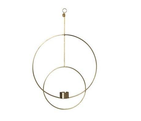 Ferm Living Photophore Deco ronde métal doré 30x45x4.5