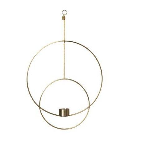 Ferm Living Porta Teal deco rotondo in metallo dorato 30x45x4,5