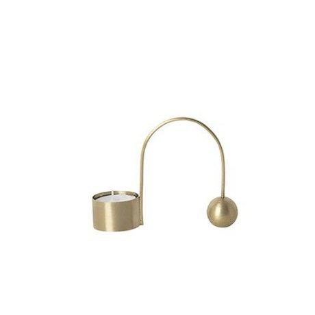Ferm Living Tealight holder balance golden metal 10.6x9x2.6cm