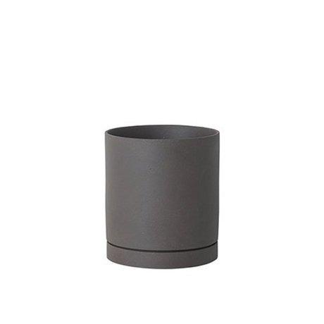 Ferm Living Maceta Sekki gris cerámica grande Ø15,7x17,7cm
