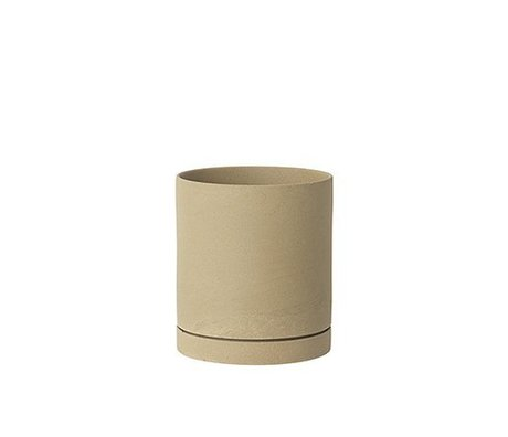 Ferm Living Maceta Sekki beige cerámica grande Ø15,7x17,7cm
