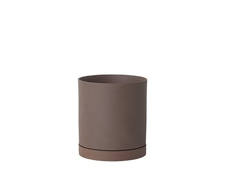 Ferm Living Flower pot Sekki red brown ceramic large Ø15,7x17,7cm
