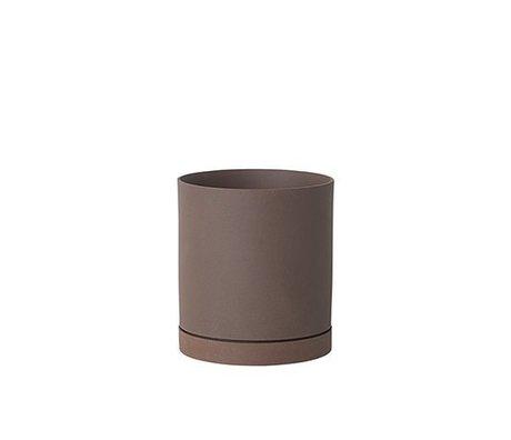 Ferm Living Maceta Sekki rojo marrón cerámica grande Ø15,7x17,7cm