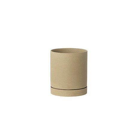 Ferm Living Blomsterkrukke Sekki beige keramik stor Ø15,7x13,5cm
