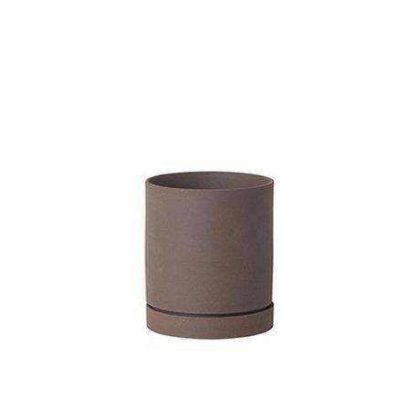 Ferm Living Blomsterkrukke Sekki rødbrun keramik stor Ø15,7x13,5cm