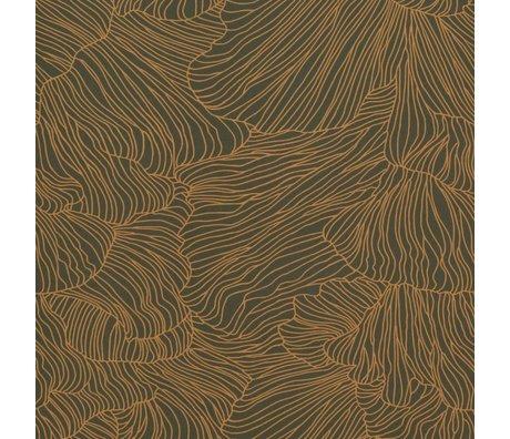 Ferm Living Carta da parati Coral oro verde scuro 53x1000cm
