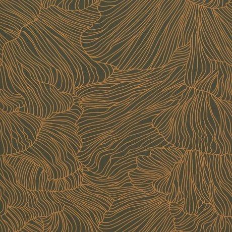 Ferm Living Tapete Coral dunkelgrün goldfarben 53x1000cm
