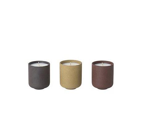 Ferm Living Candele profumate Sekki Set di 3 (profumo di fico) Ø5,5x6,5 cm