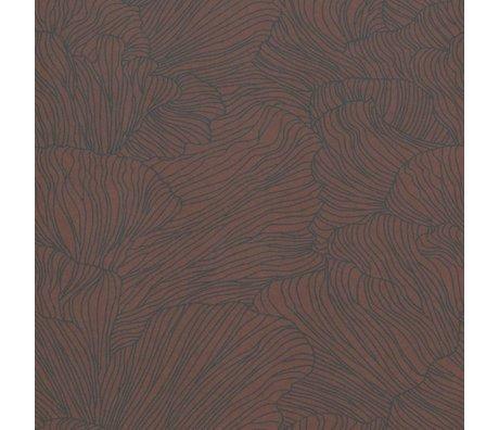 Ferm Living Papel pintado Coral borgoña rojo azul oscuro 53x1000cm