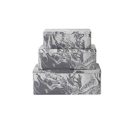 Ferm Living Set aus 3 Aufbewahrungsdosen Marble aus Metall