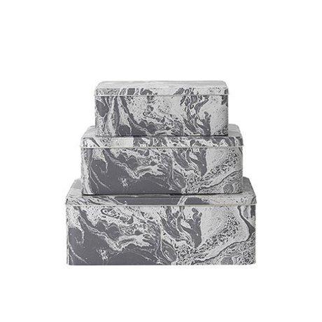 Ferm Living Sæt med 3 metal opbevaringsbokse Marmor