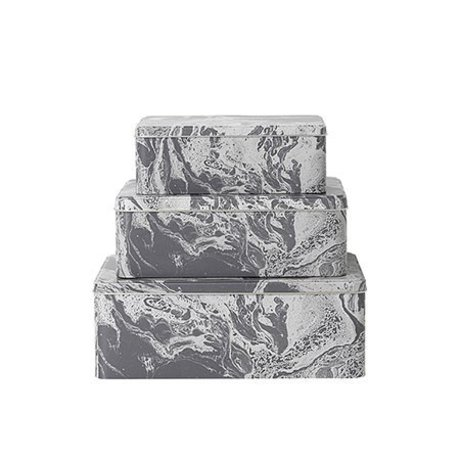 Ferm Living Set of 3 metal storage boxes Marble