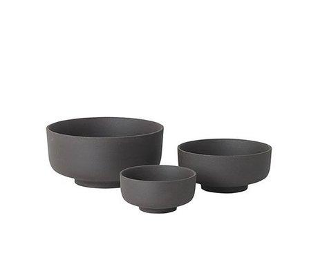 Ferm Living Juego de 3 tazones de cerámica gris Sekki
