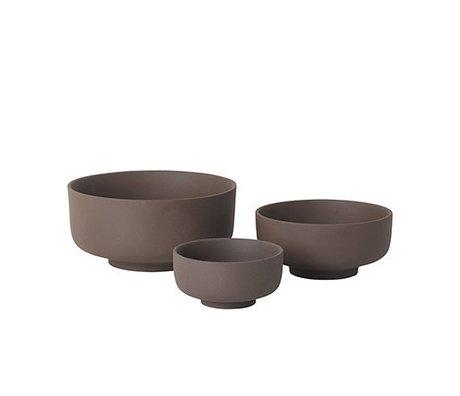 Ferm Living Cuencos Juego de 3 Sekki cerámica rojo-marrón