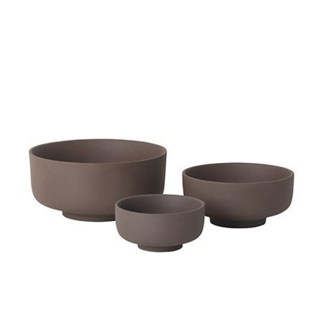 Ferm Living Set de 3 bols en céramique rouge-marron Sekki