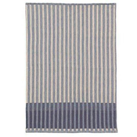 Ferm Living Torchon Grain Jacquard bleu coton 70x50cm