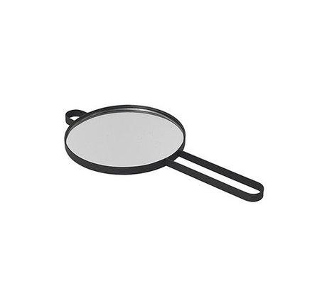 Ferm Living Miroir à main Poise métal noir verre 28.5x14.5x1cm