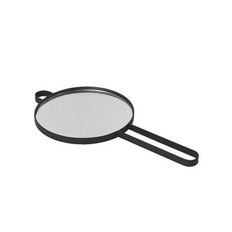 Ferm Living Specchio a mano in metallo nero pois vetro 28,5x14,5x1cm