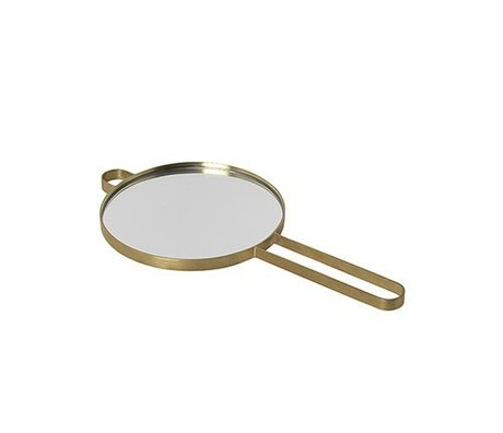 Ferm Living Espejo de mano poise gold metal glass glass 28.5x14.5x1cm