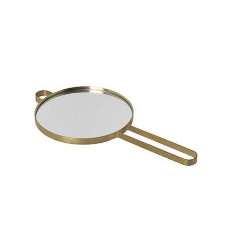 Ferm Living Miroir à main Poise or métal verre coloré 28.5x14.5x1cm