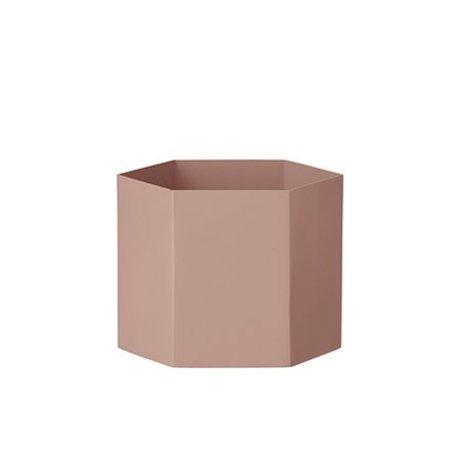 Ferm Living Pot Hexagon pink Ø18x14cm Ekstra stor