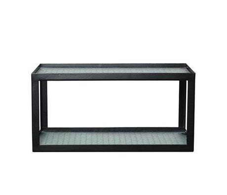 Ferm Living Wandbrett Haze schwarz Metallrahmen mit Drahtglas 17x35x19cm