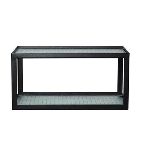 Ferm Living Tablero de pared Haze marco de metal negro con vidrio de alambre 17x35x19cm
