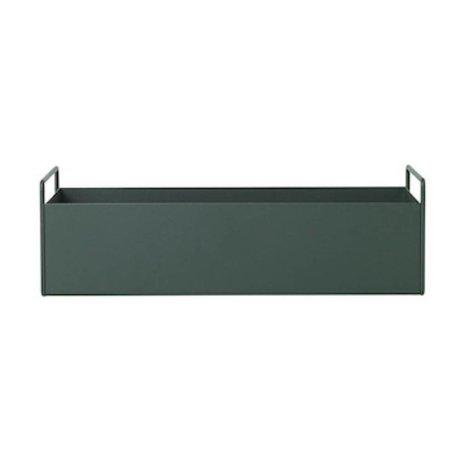 Ferm Living Boîte pour plante en métal vert foncé S 45x14,5x17cm