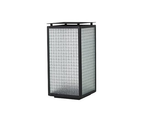 Ferm Living Linterna Neblina de vidrio de acero negro 16.5x16.5x33cm