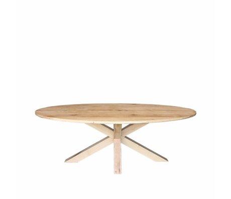 LEF collections Table à manger Mex chêne brun bois 240x110x76cm
