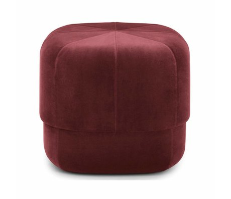 Normann Copenhagen Puff Circus dark red velor small 40x46x46cm