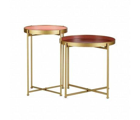 LEF collections Table d'appoint Jules en métal doré rose lot de 2