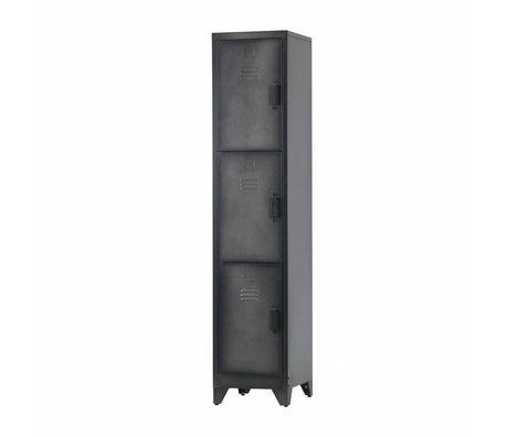 LEF collections Spind Cas 3 Türen schwarz Metall 180x38x45,5cm