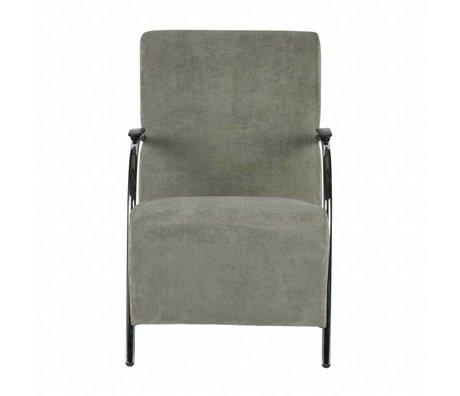 LEF collections Fauteuil Halifax en velours côtelé vert grisé 90x56x85cm