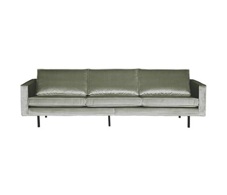 BePureHome Canapé Rodeo 3 places kaki vert velours 85x277x86cm