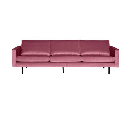 BePureHome Canapé Rodeo 3 places rose velours 85x277x86cm