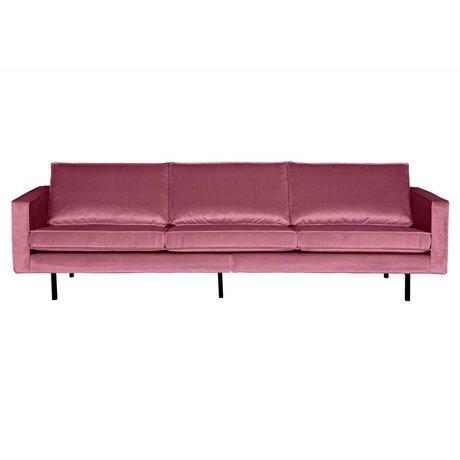 BePureHome Sofá Rodeo 3 plazas de terciopelo rosa 85x277x86cm