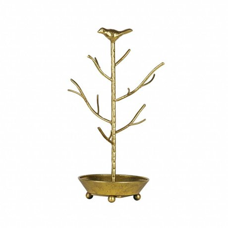 BePureHome Jewelery holder deco antique brass colored golden metal 40x25x25cm