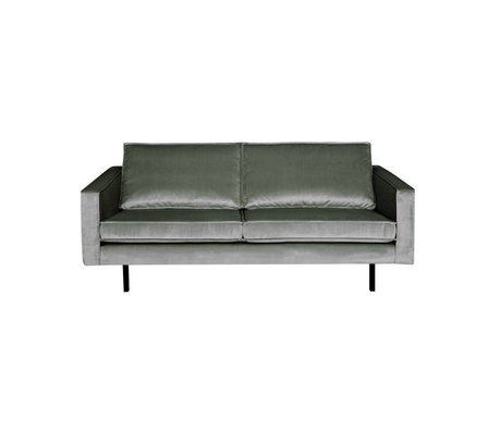 BePureHome Bank Rodeo 2,5 places mi velours velours gris 190x86x85cm