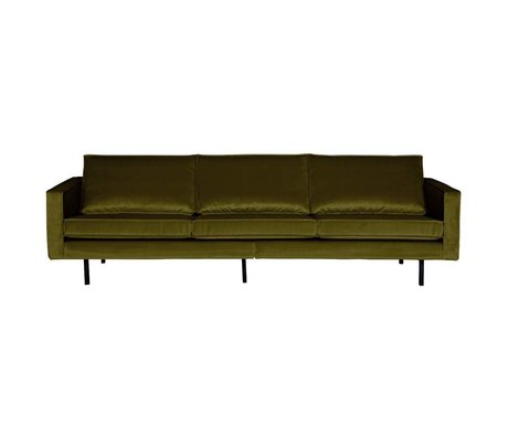 BePureHome Sofa Rodeo 3-Sitzer olivgrün Samt 85x277x86cm