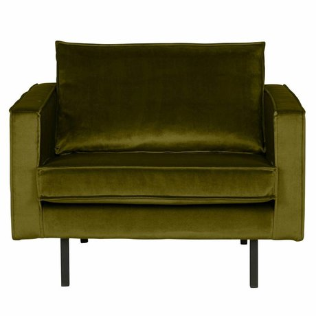 BePureHome Armchair Rodeo olive velvet 105x86x85cm