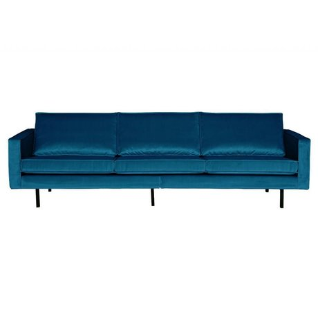 BePureHome Banque Rodeo 3 places velours velours bleu 85x277x86cm