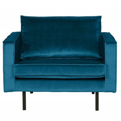 BePureHome Fauteuil Rodeo velours bleu 105x86x85cm